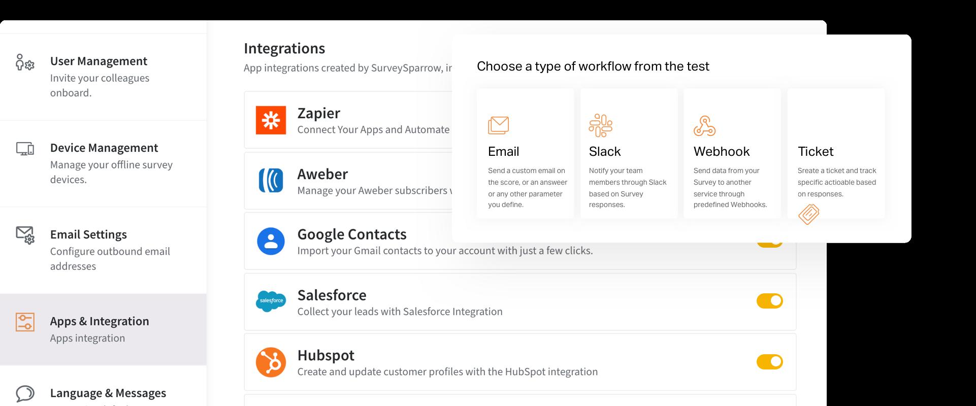 Integraciones nativas, API y Webhooks